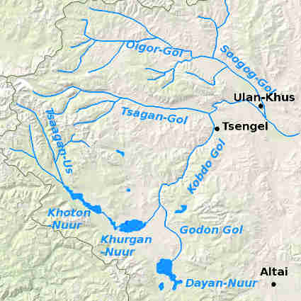 Mongolian Altai. Rivers map